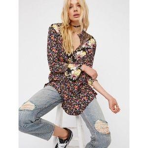 Free People Mini Tunic Floral Dress Long Sleeve